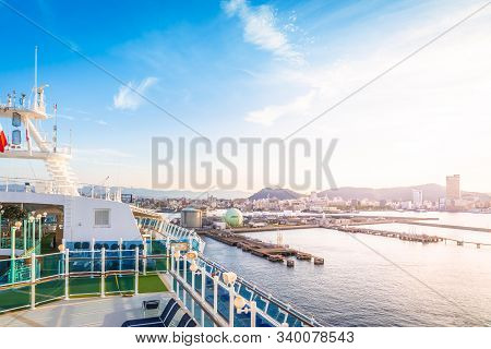 Balcony Of Diamond Princess Cruise Ship With Service Bar And Swimming Pool With The View Of Takamats