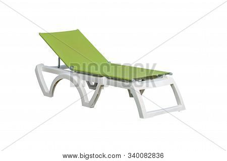Image Of Green Plastic Beach Deck Chair Isolated On White Background