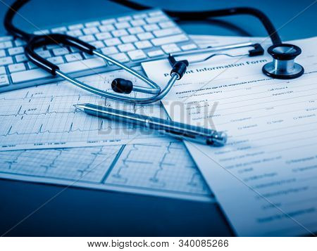 Health Concept - Medical Healthcare, Health Research. Doctor, Hospital With Health Related Graphic.