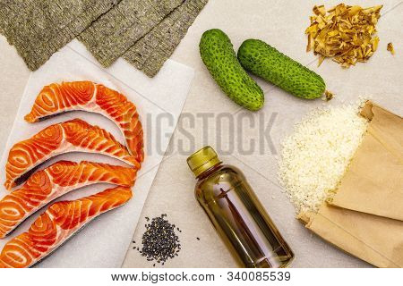 Set Of Traditional Ingredients For Making Japanese Rolls.
