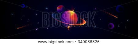 Wide Vector Illustration Of Space. Space Background With Planets And Stars. Space Exploration. Gradi