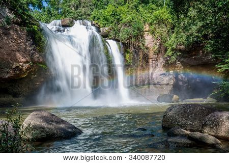Huaew Suwat Waterfall With Rainbow In Khao Yai National Park From Thailand