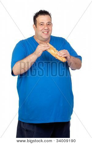 Happy fat man with a large bread isolated on white background