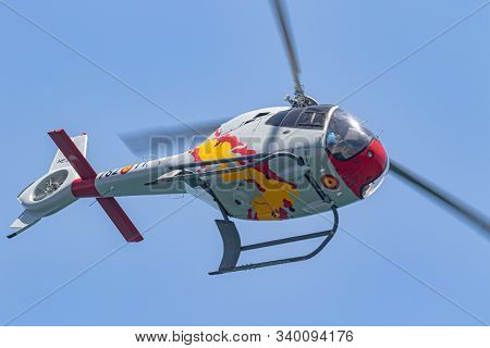 Torre Del Mar, Malaga, Spain-jul 14: Patrulla Aspa, Helicopter Eurocopter Ec-120 Colibri Taking Part