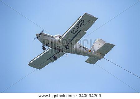 Torre Del Mar, Malaga, Spain-jul 14:  Airplane Morane Saulnier Socata Ms893a Taking Part In A Exhibi