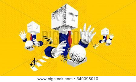 Fortune Teller. Businessman Is Foretelling Future With Magic Ball. Vector Illustration In Surrealism