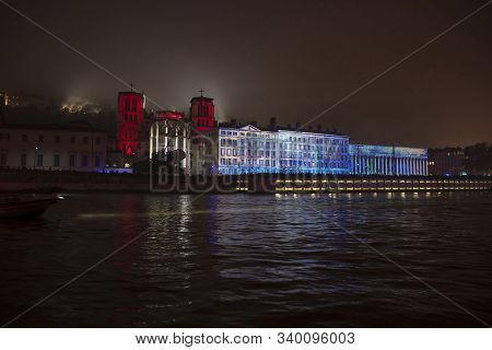 Lyon, France, Europe, 6th December 2019, View Of The Fetes Des Lumiers Aka Festival Of Light And The