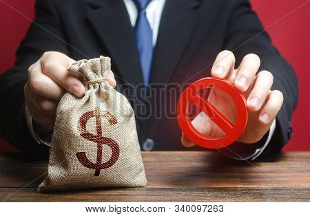 Businessman Refuses To Give A Money Bag. Denial Of Cooperation. Refusal To Grant Loan Mortgage, Bad