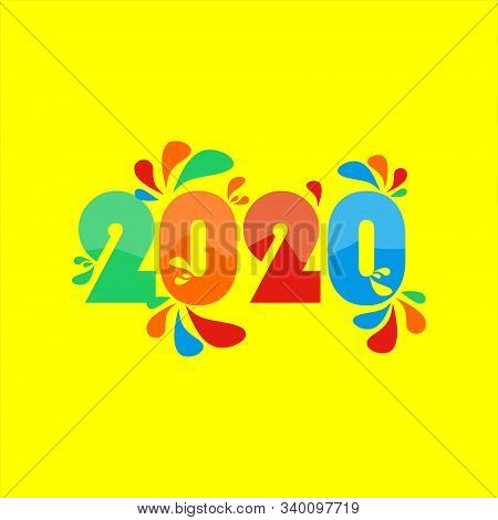 2020 colorful Text isolated on yellow background, New Year 2020, 2020 text for Calendar New years, Happy New Year 2020,2020 Beginning concept, Number 2020, New Year 2020 Creative Design Concept, 2020 vector Eps10