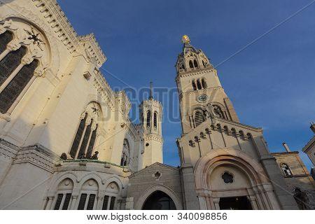 Lyon, France, Europe, 6th December 2019, View Of The Basilique Notre Dame De Fourviere