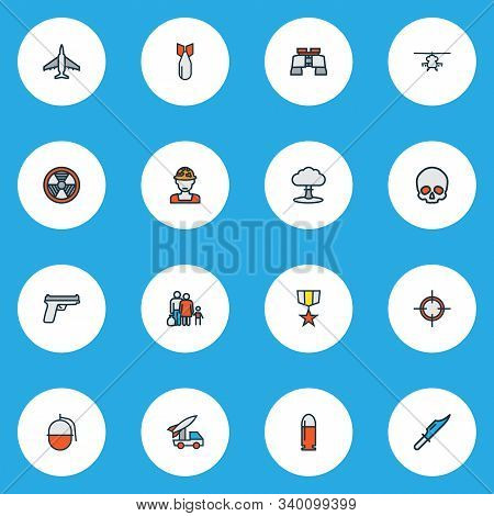 Warfare Icons Colored Line Set With Binoculars, Nuclear Explosion, Skull And Other Explosive Element
