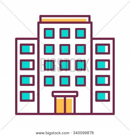 Multi-storey Building Color Line Icon. Building With Several Floors At Different Levels Above The Gr