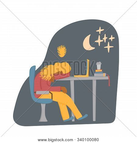Overtime Concept. Tired Woman Sitting At The Table And Sleeping. Exhausted Freelancer. Vector Flat I