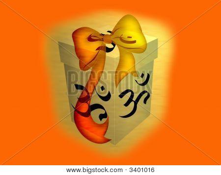 A shiny golden spiritual Indu gift box poster