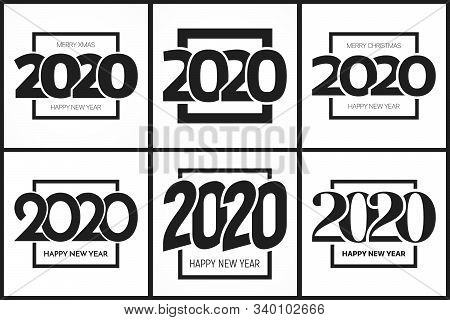 2020 Happy New Year Eve Signs Design Templates Vector Set Isolated On White Background. Collection O