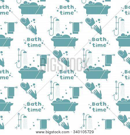 Vector Seamless Pattern Bath, Shower, Washcloth, Hand, Bubbles, Towel, Hanger. Bath Time Concept. Ba