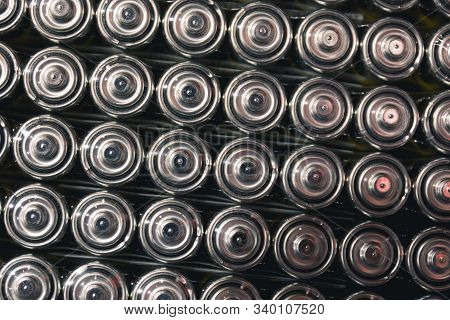 Top View Background Texture Of Electric Batteries And Accumulators Aaa Aa Packed Close To Each Other
