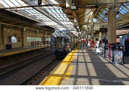 Newark, Nj, Usa - May 7, 2013: Nj Transit Locomotive Bombardier Multilevel Coach At Newark Penn Stat