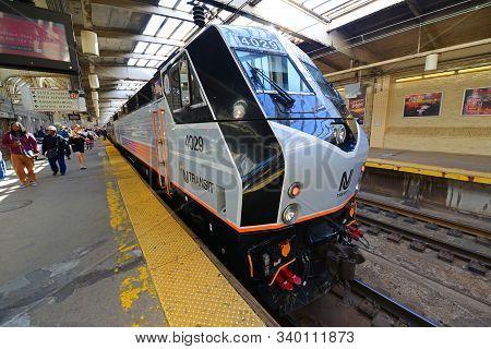 Newark, Nj, Usa - May 7, 2013: Nj Transit Locomotive Alstom Pl42ac At Newark Penn Station, New Jerse