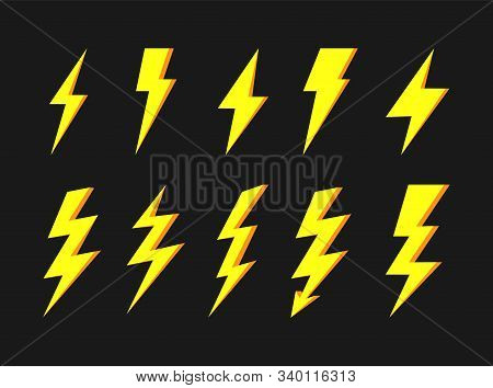 Thunder And Bolt Lighting Elements. Flash Icons Set. Elestric Blitz. Vector Thunderbolt On White Bac