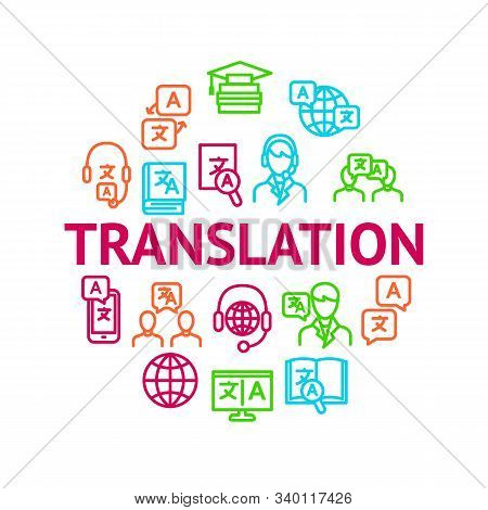Translation Signs Thin Line Line Round Design Template Ad Include Of Dictionary Book, Interpreter, T