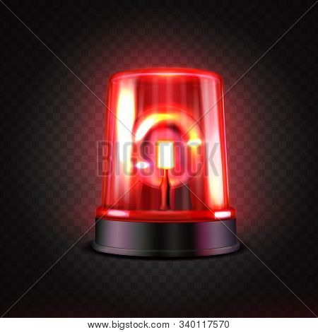Realistic Red Led Flasher. Red Lights. Transparent Beacon For Emergency Situations.