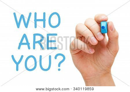 Hand Writing The Question Who Are You With Blue Marker On Transparent Wipe Board Isolated On White B