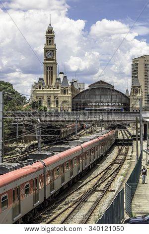 Sao Paulo, Brazil, January 14, 2018. Railway Tracks Near The Luz Train Station, In Sao Paulo. Luz Tr