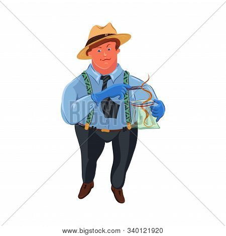 A Classic Fat Detective In A Brown Hat Collects Evidence Into A Bag. Vector Colorful Illustration In
