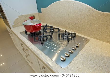 Italian Kitchen Furniture . White Furniture Of The Classic Italian Kitchen. Gas Stove With And Embed