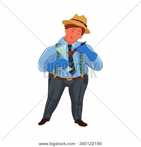A Classic Fat Detective In A Brown Hat Searching For Fingerprints On A Glass. Vector Colorful Illust