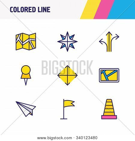 Vector Illustration Of 9 Location Icons Colored Line. Editable Set Of Compass, Navigator, Pushpin An