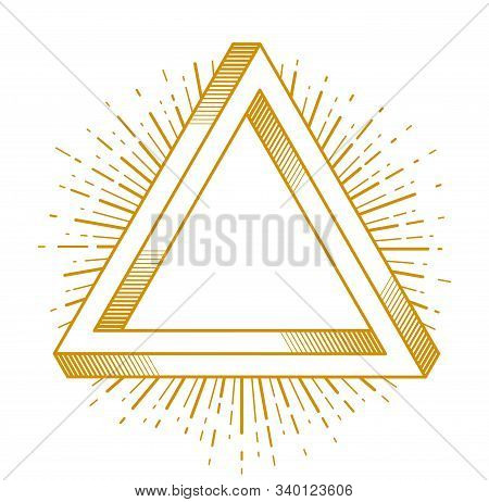 Sacred Geometry Triangle Dimensional 3D Impossible Shape, Vector Logo Or Emblem Design Element.