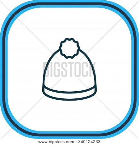 Vector Illustration Of Beanie Icon Line. Beautiful Dress Element Also Can Be Used As Pompom Icon Ele