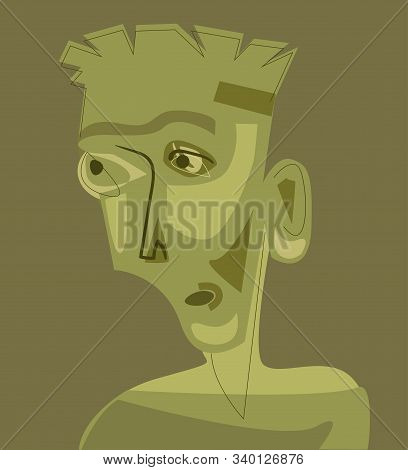 Man Portrait In Cubism Art Style. Vector
