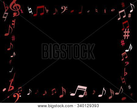 Pink Flying Musical Notes Isolated On Black Background. Stylish Musical Notation Symphony Signs, Not