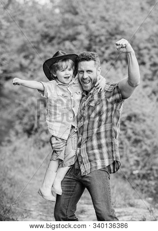 Power Being Father. Child Having Fun Cowboy Dad. Rustic Family. Growing Cute Cowboy. Small Helper In