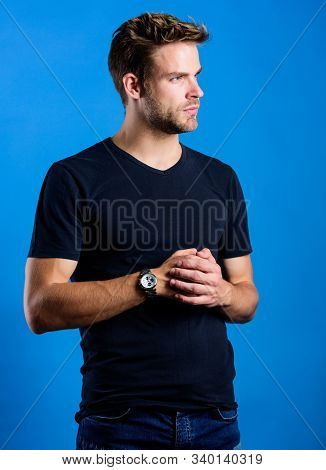 Watch Repair. Keep Punctual. Man Well Groomed Handsome Hipster Wrist Watch. Expensive Luxury Accesso