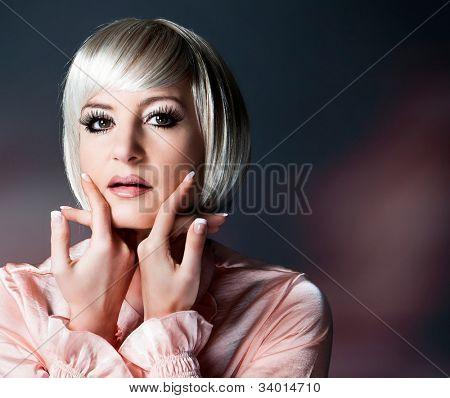 beautiful lady with blond bob