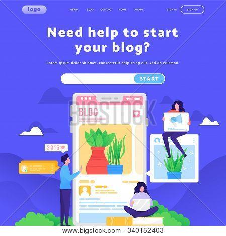 Vector Web Site Design Template. Write A Blog, Digital And Social Media Marketing, Followers And Lik