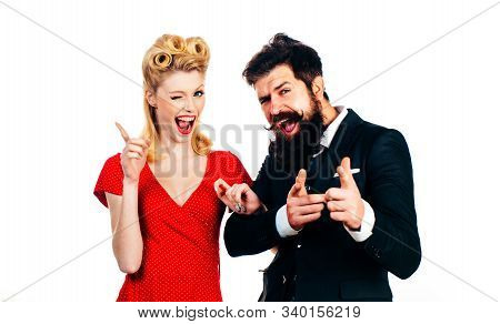 Funny Retro Couple. Crazy Couple In Love Eye Wink At Camera. Young Just Married Couple Wearing Class