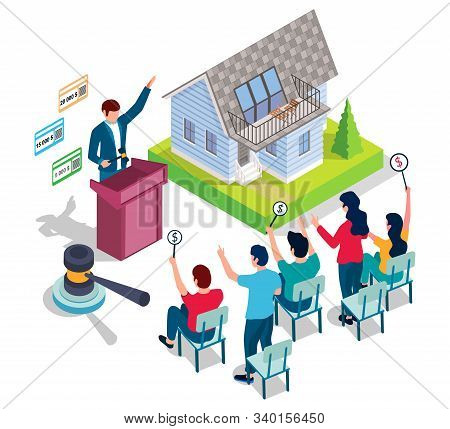 Home Auction And Bidding Vector Concept For Web Banner, Website Page