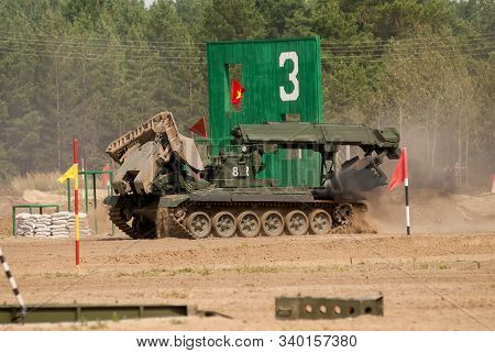 Tyumen, Russia - August 11, 2019: International Army Games. Safe Route Contest. Motion Of Imr-2 Engi