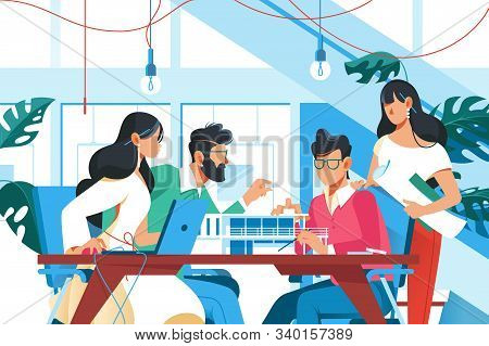 Team Working In Office Illustration. Young Men And Women Sitting At Table And Creating New Project F