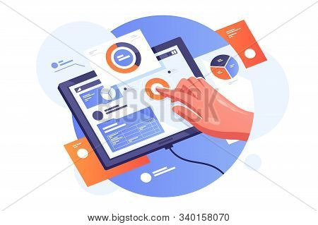 Modern Tablet With Infographics Illustration. Persons Hand Creating On Gadget Presentation With Stat