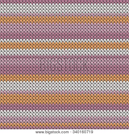 Chunky Horizontal Stripes Knitted Texture Geometric Vector Seamless. Rug Knitwear Fabric Print. Clas