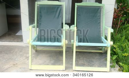 Two Wooden Folding Deck Chair , Geen Pastel Folding Deck Chair