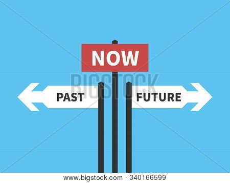 Now, Past And Future Arrows And Plates On Bright Blue. Present Moment, Destiny, Life, Psychology, Fo