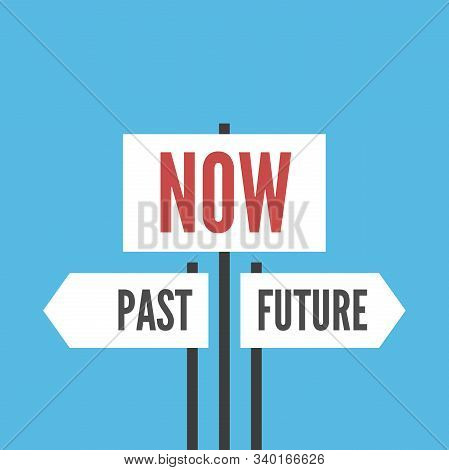 Now, Past And Future Signs On Blue Background. Present Moment, Destiny, Life, Psychology, Focus And