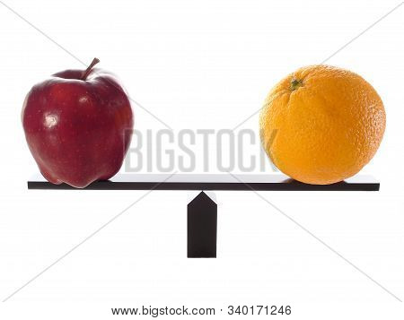 Equality In Two Different Objects,apple And Orange Are Balanced